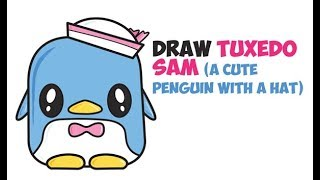 How to Draw Tuxedo Sam from Hello Kitty Kawaii Chibi Easy Step by Step Drawing for Kids