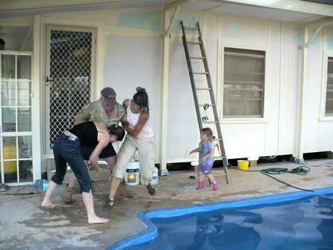 Terry pushing Estelle & Barbara into pool