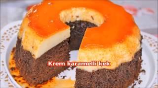 Tek kalıpta aynı anda pişen krem karamelli kek nefis bir lezzet