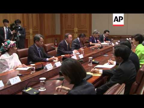 UN Secretary General Ban meets SKorean President Park and PM Chung