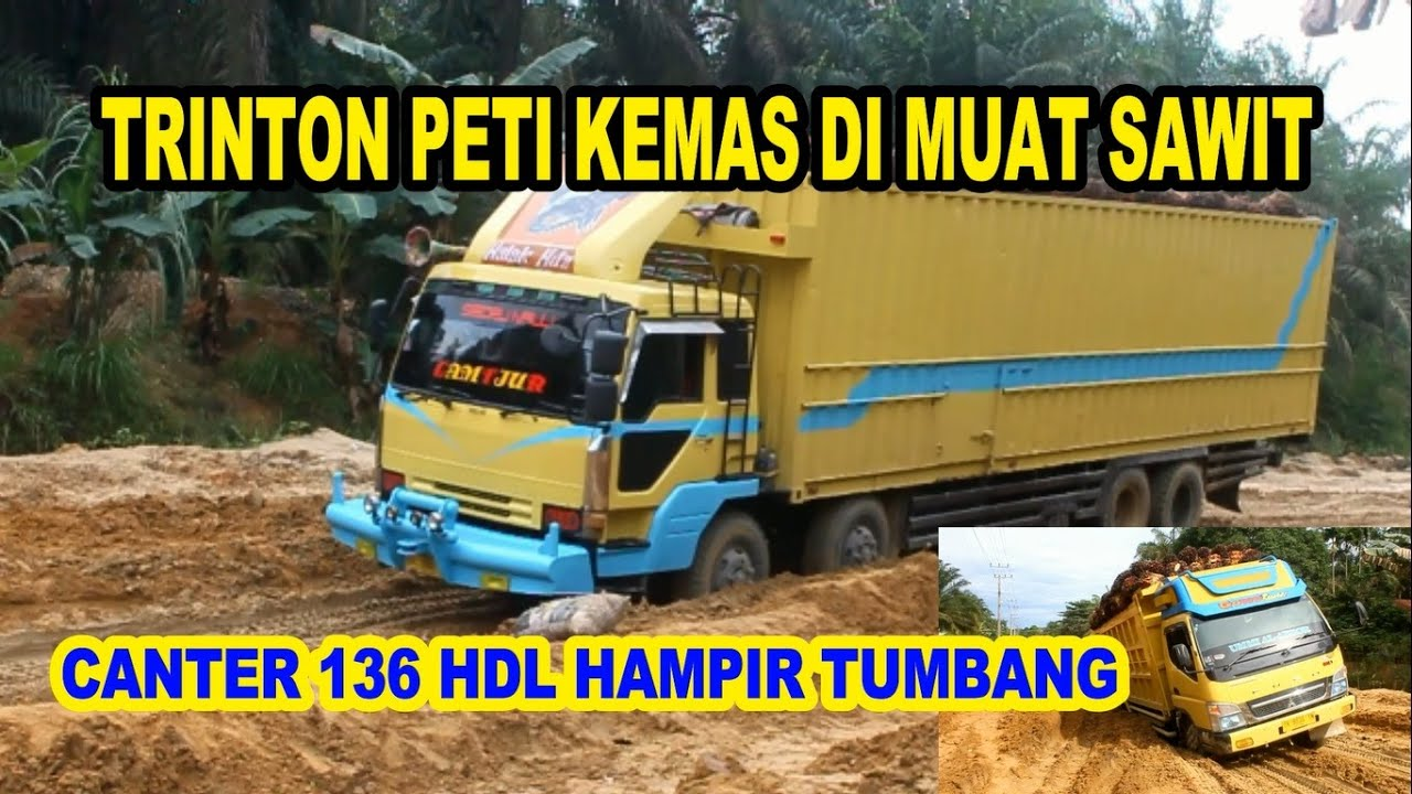 TRUK PETI KEMAS MUATAN SAWAIT || CANTER HDL HAMPIR TERBALIK