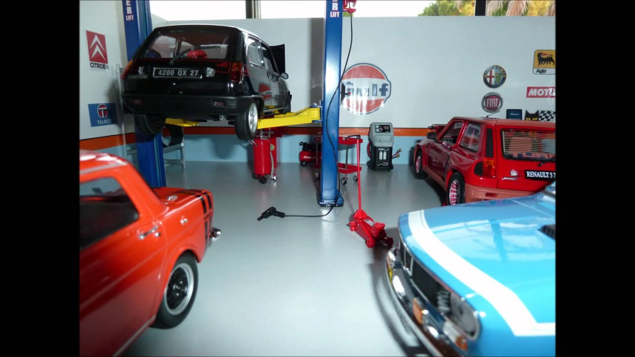 diorama 1 18 garage antic cars youtube. Black Bedroom Furniture Sets. Home Design Ideas