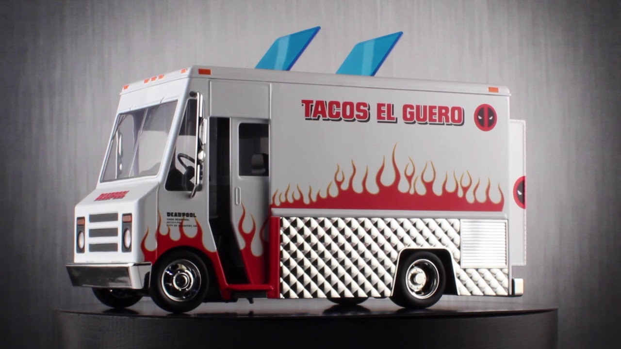 Jada Diecast Metal Hollywood Rides 1:24 DEADPOOL TACO TRUCK w//DEADPOOL Figure