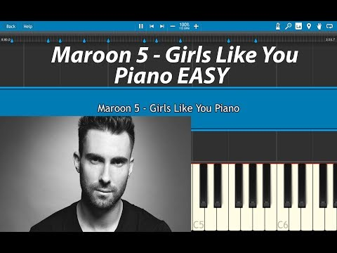 Girls Like You Piano Tutorial Maroon 5 (Piano Cover) With Key Lables EASY