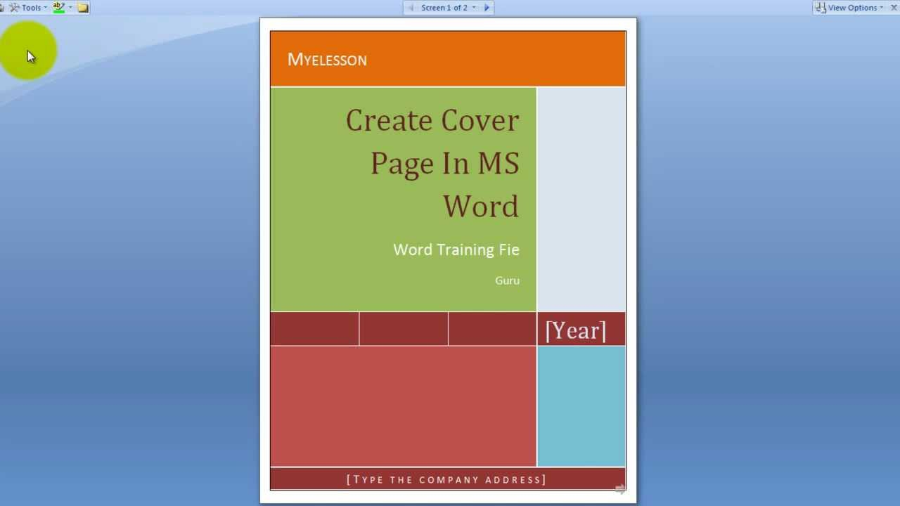 create a cover page in ms word english