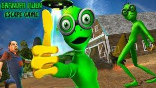SCARY GREEN GRANDPA ALIEN Escape Game! Save Alien Friends - Spooky Hello Neighbor Farmer Games