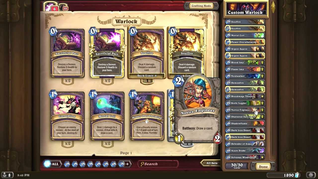 awesome expensive warlock deck for hearthstone