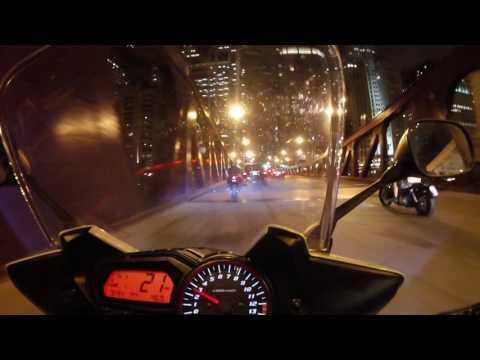 Chicago downtown ride through traffic.