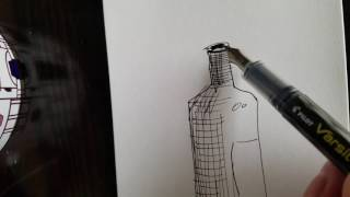 Practice crosshatching a bottle with a Fountain pen