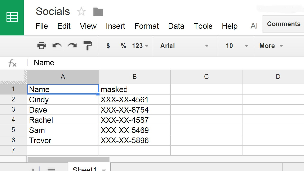 Mask SSNs in a Spreadsheet