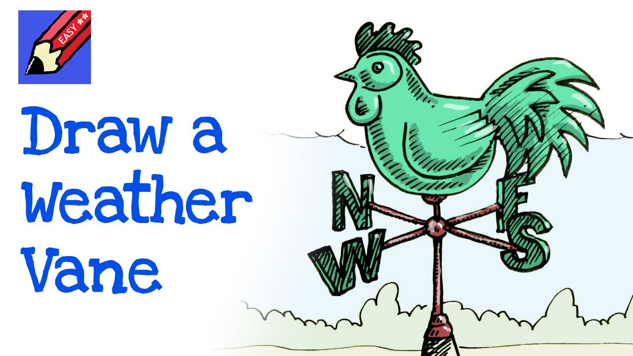 how to draw a weathercock weathervane real easy for kids and beginners [ 1280 x 720 Pixel ]