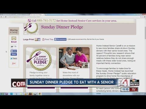 Sunday Dinner Pledge to eat with a senior - YouTube