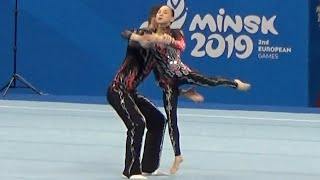 ACROBATIC GYMNASTICS mixed pair FINAL II European Games 2019 MINSK RUSSIAN FEDERATION