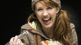 women laughing alone without salad