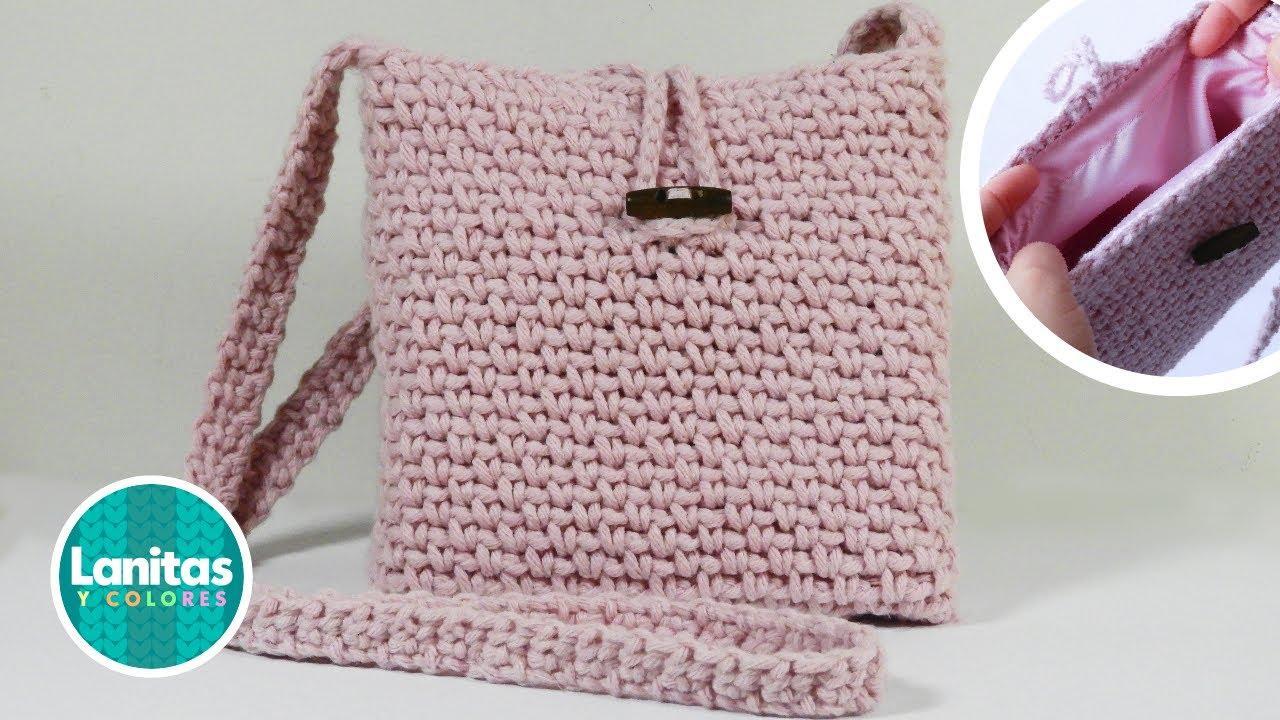 Bolso Cartera de algodón a crochet 👉 CON FORRO paso a paso   Lanitas y Colores
