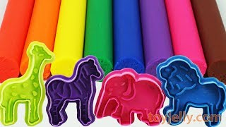 Play Doh Animal Molds Elephant Lion Giraffe Zebra Learn Colors with Fun & Creative for Kids Baby