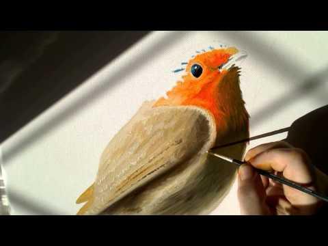 My Christmas Robin Fine Art Oil Painting. Timelapse Artwork ASMR