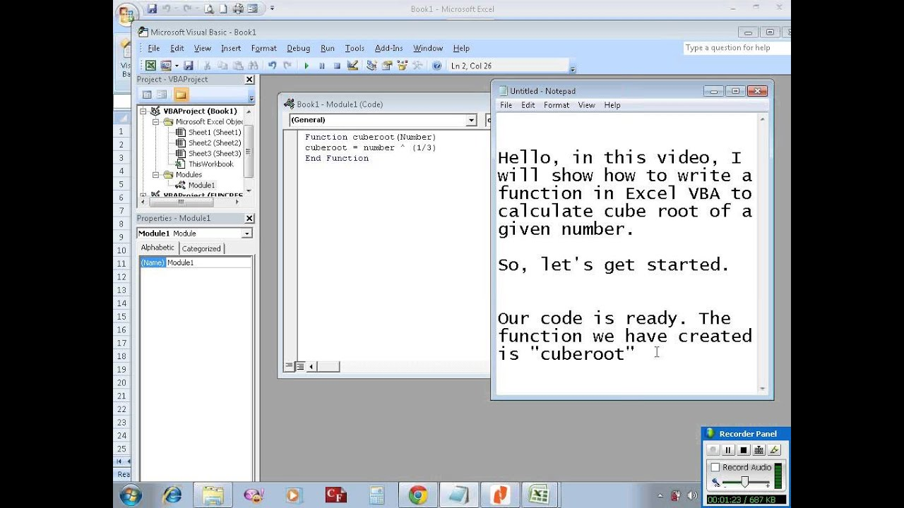 Excel Vba Example 5 Writing A Function To Calculate Cube