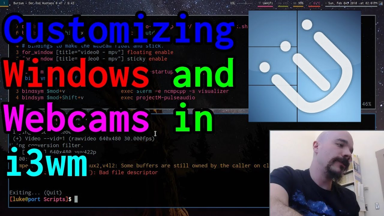 i3: Managing Windows and Webcams for screencasting