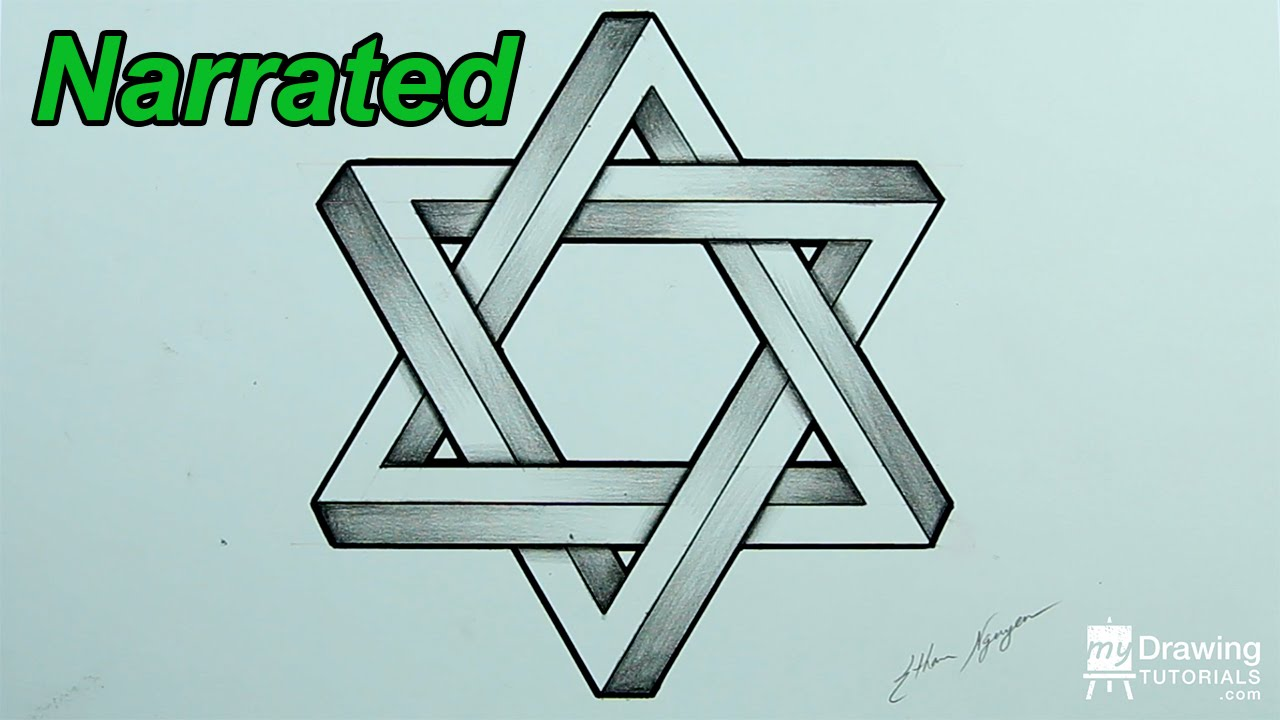 How To Draw An Impossible Star Of David  3d Star  Impossible Shapes  (narrated)