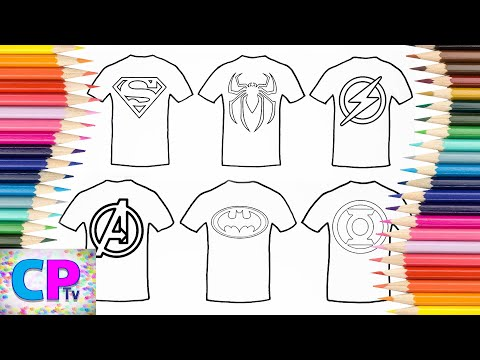 Superman,Spiderman,Flash..T-Shirt Coloring Pages, How To Color Superheroes