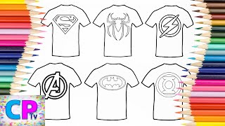 Download Superman,Spiderman,Flash,The Avengers,Batman....T-Shirt Coloring Pages Tv, How to Color Superheroes