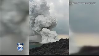Lava flow viewing area collapses into ocean