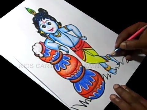 How to Draw Lord Little krishna Drawing / Baby Krishna Painting