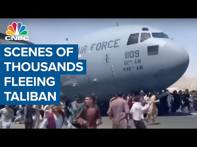 Chaotic scenes at Kabul airport as thousands flee Taliban