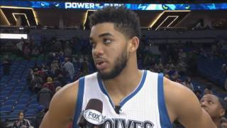 Wolves' Towns talks about Timberwolves fans after a win over the Brooklyn Nets