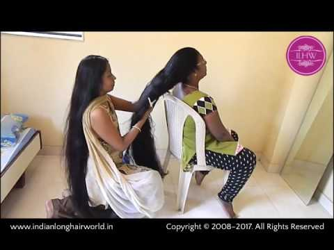 ILHW Real Rapunzels Reshma & Sujata Oiling Each Other Knee Length Silk