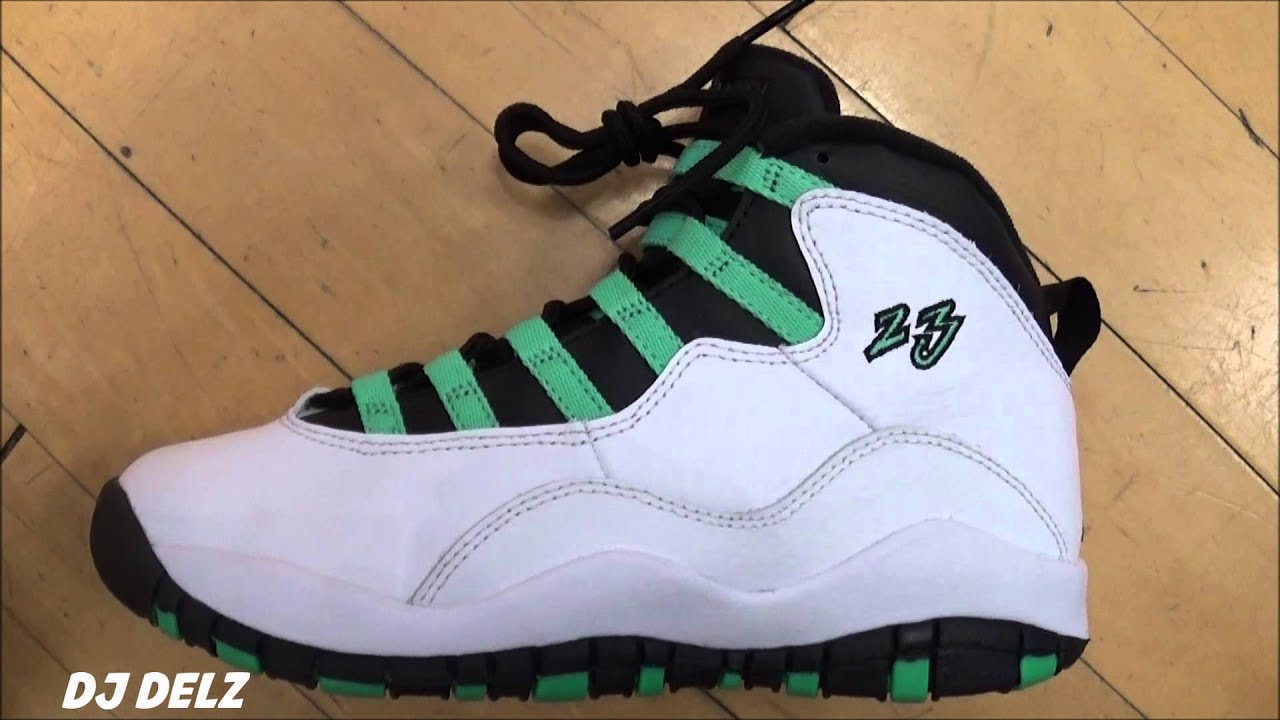 Air Jordan 10 GS White Verde Infrared Sneaker Review With @DjDelz