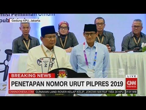 Prabowo: Mari Menyongsong Demokrasi Dengan Baik & Tenang | Penetapan Nomor Urut Pilpres 2019