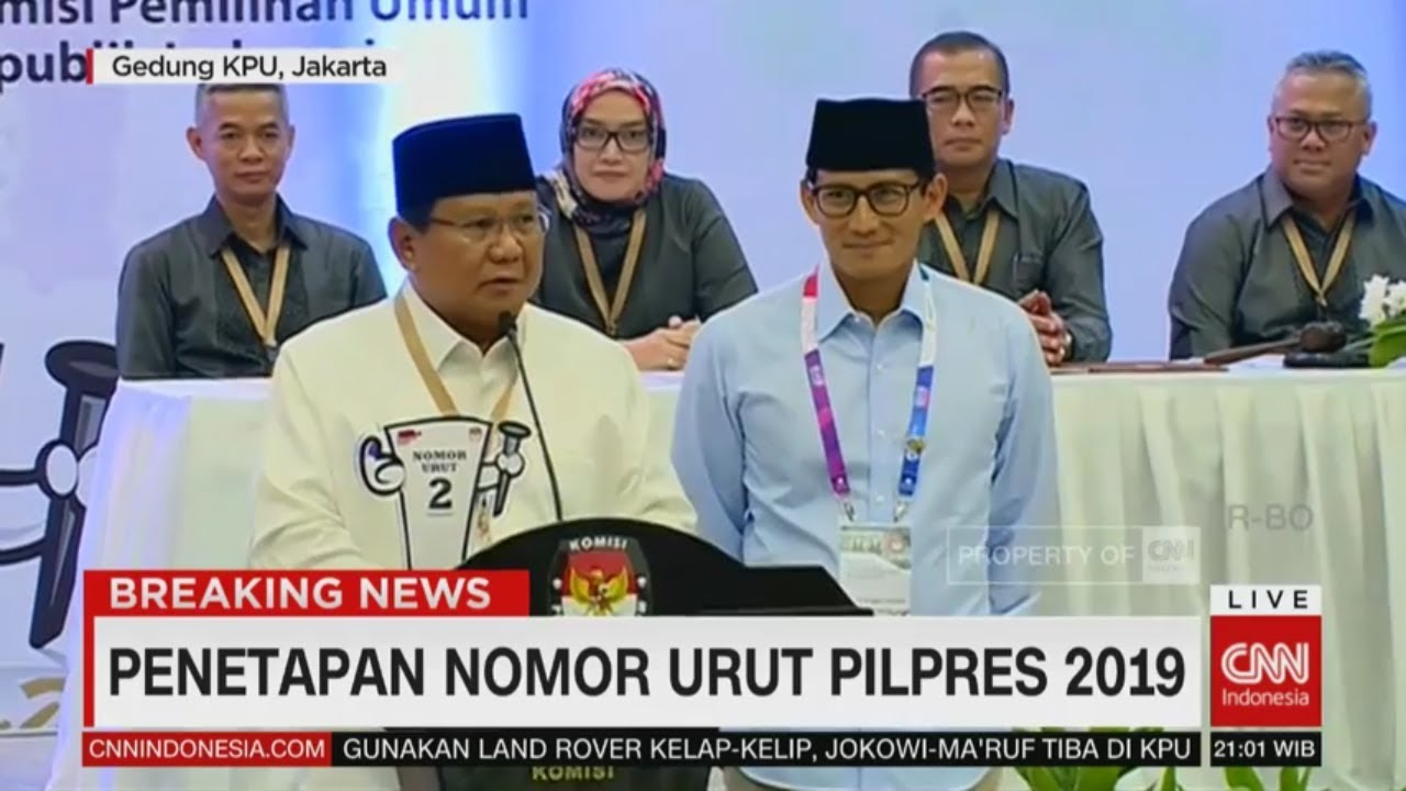 Prabowo: Mari Menyongsong Demokrasi dengan Baik & Tenang   Penetapan Nomor Urut Pilpres 2019