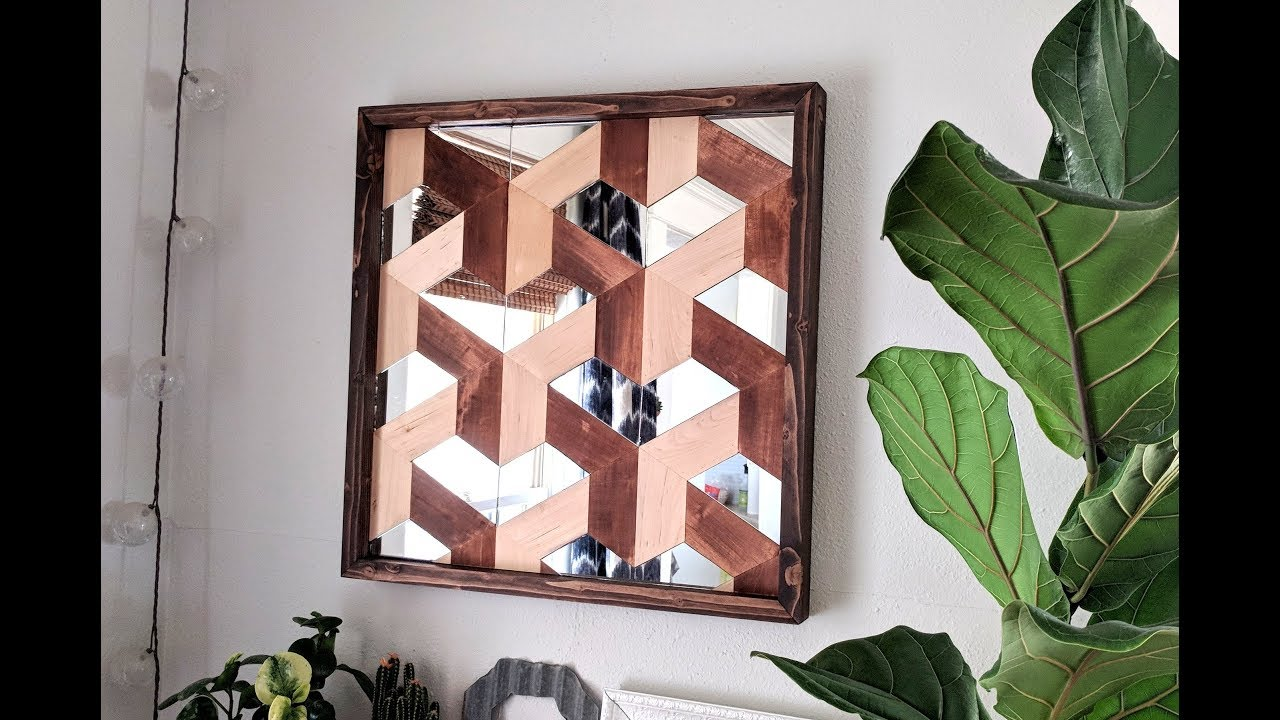 Diy Geometric 3d Illusioned Wood Art With Mirror Pieces