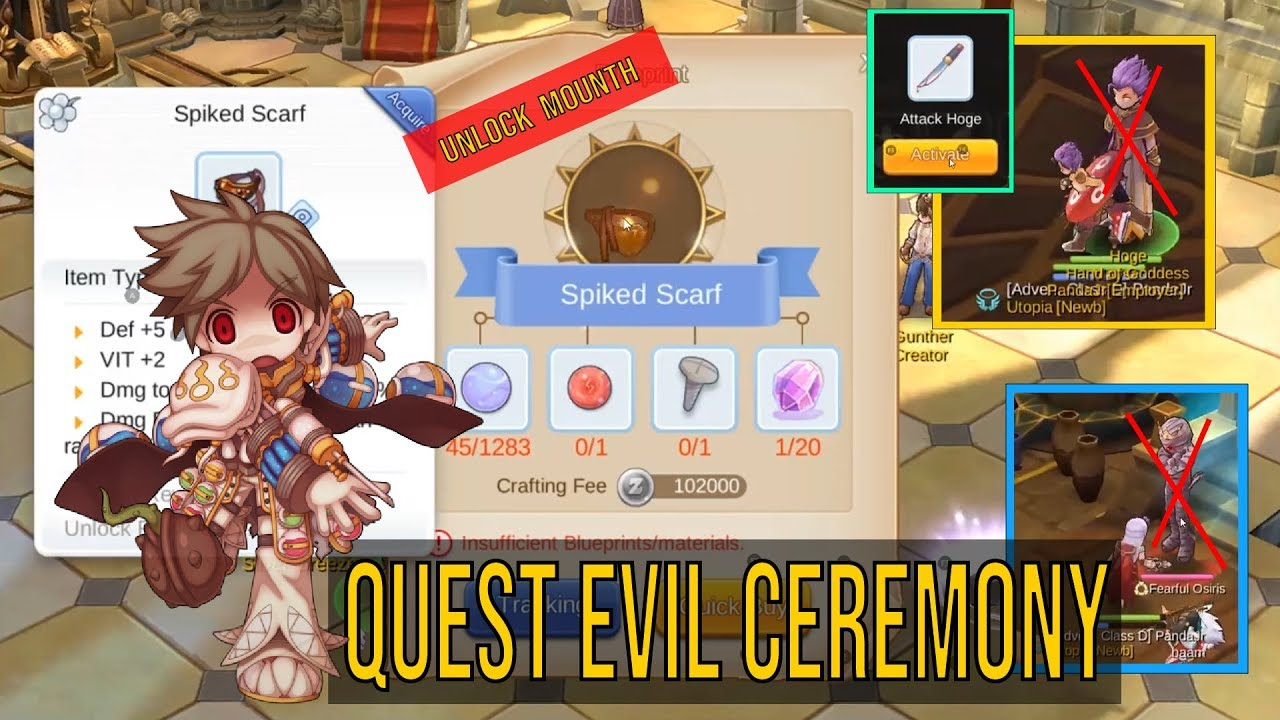 Fixed Quest Evil Ceremony & Unlock Equip Spiked Scarf Ragnarok Mobile  [ENGLISH SUB]