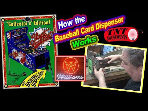 #1376 Williams SLUGFEST Arcade Pitch And Bat With Baseball Card DIspenser TNT Amusements