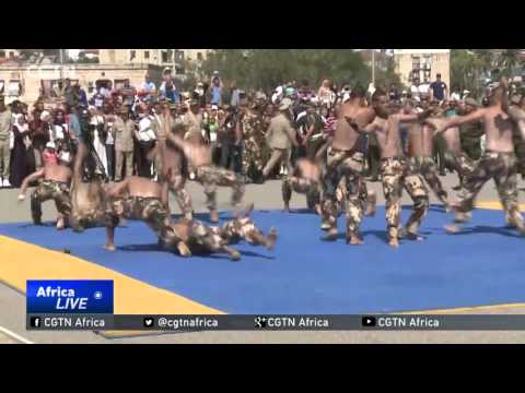 Algerian army soldiers perform during 55th anniversary celebrations