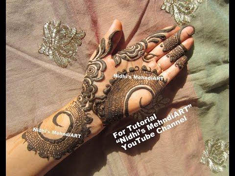 Front Hand Henna Mehndi Design : Bridal khaleeji front hand henna mehndi design tutorial youtube