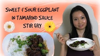 Sweet & Sour Eggplant In Tamarind Sauce Stir Fry Recipe - Vegan & Gluten Free