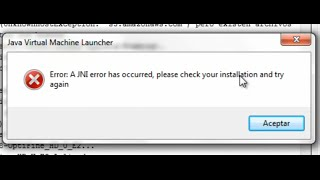 Solucion a 1.8 A JNI error has ocurred, please check your installation and try again