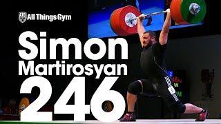 Simon Martirosyan (113.45kg) 225kg, 235kg, x246kg Jr. Clean & Jerk World Record Attempt