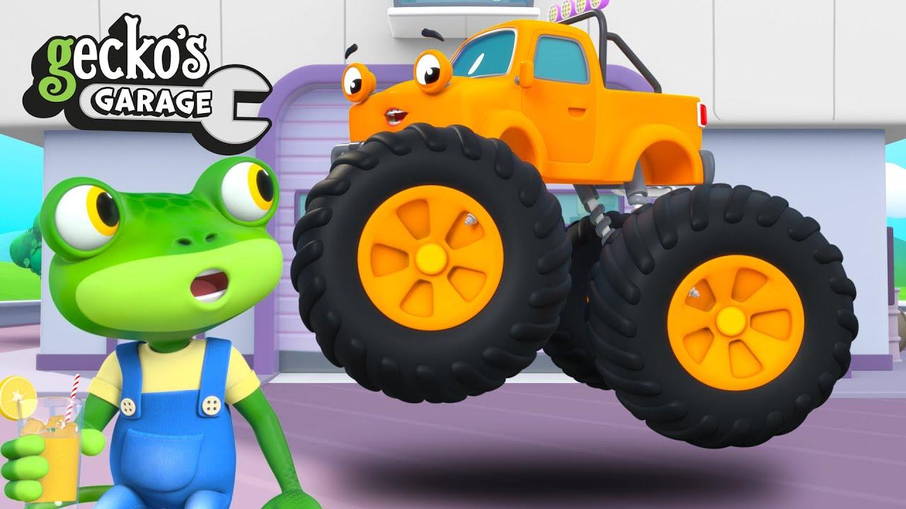 Flying Monster Truck - Gecko Rescues Max! | Gecko's Garage | Truck Videos | Cartoons For Kids