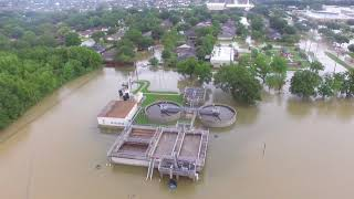 Houston flood aerial video - South Mayde Creek @ Greenhouse Rd Aug 27, 2017