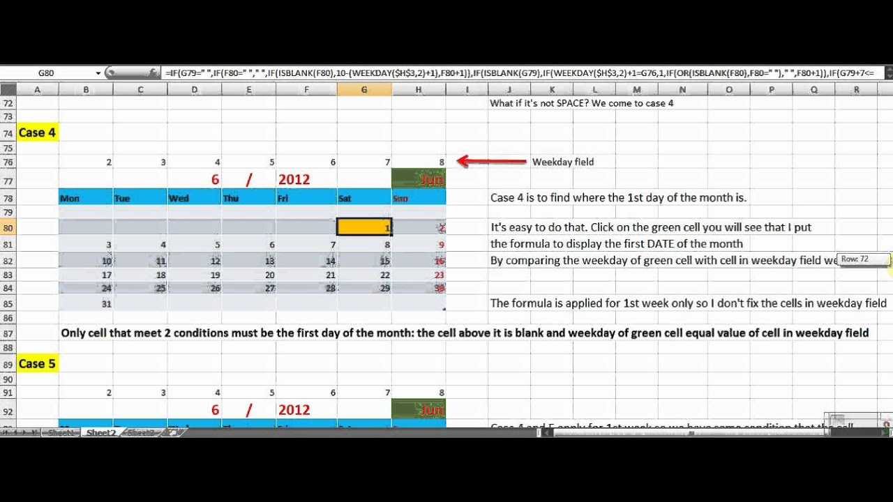How to make Perpetual Calendar using formula in Excel 2007 ...