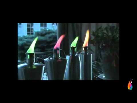 Antorchas kidel con llama de colores youtube for Antorchas para jardin