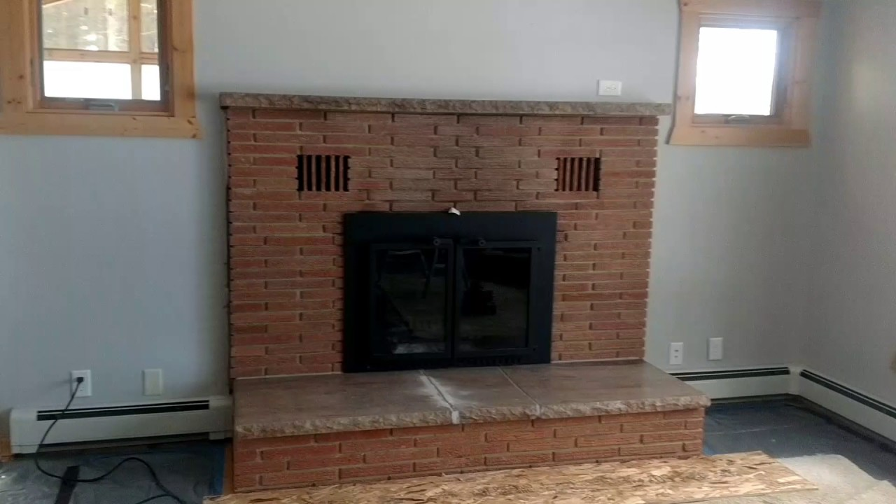 Remodeling old brick fireplace. - YouTube