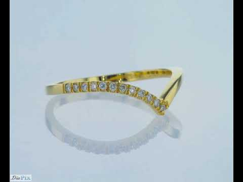 טבעת יהלומים V זהב צהוב