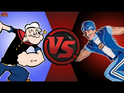 POPEYE vs SPORTACUS! (Popeye vs Lazy Town) Cartoon Fight Club Bonus Episode 10