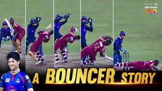 A rare BOUNCER from leg spinner Qais Ahmad to Andre Russell!